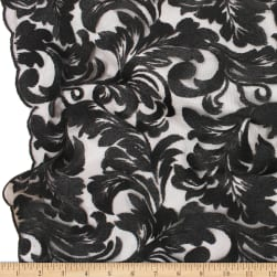Telio Damask Mesh Embroidery Black Fabric