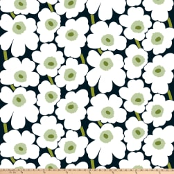 Marimekko Pieni Unikko Cotton Broadcloth Black/White/Green