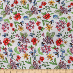 Telio Bloom Stretch Cotton Sateen Floral Coral Fabric
