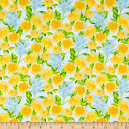 Wilmington Bloom True Packed Floral Blue Fabric