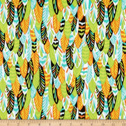 Wilmington Feathers and Foliage Owl Feathers Green