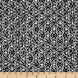 Wilmington Feathers and Foliage Flower Damask Black