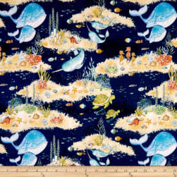 Wilmington Water Wishes Scenic Navy Fabric