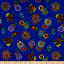 Wilmington Safari, So Goodie Tossed Flowers Blue Fabric