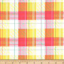Michael Miller Goat Island Lily Plaid Coral
