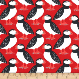 Michael Miller Acadia Puffin Perch Red