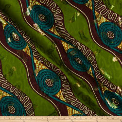 Supreme Basin African Ankara Print Broadcloth 6 Yard Metallic Gold Green Fabric
