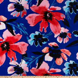 Crepe de Chine Large Painterly Flowers Blue/Red/Sky