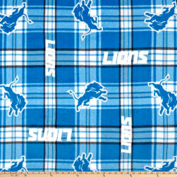 NFL Fleece Detroit Lions Plaid Blue Fabric