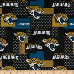 NFL Cotton Broadcloth Jacksonville Jaguars Gold/Black/Aqua Fabric