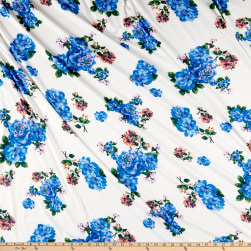Double Brushed Poly Jersey Knit Floral Garden Ivory/Turquoise
