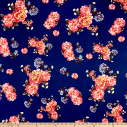 Double Brushed Poly Jersey Knit Floral Garden Navy/Brick