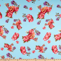 Double Brushed Poly Jersey Knit Floral Garden Sky