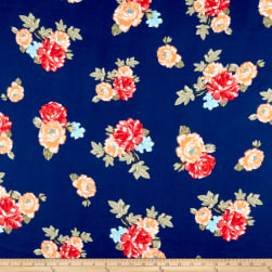 Double Brushed Poly Jersey Knit Rose Garden Navy/Orange Fabric
