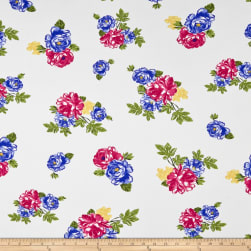 Double Brushed Poly Jersey Knit Rose Garden Ivory/Royal Fabric