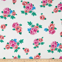 Double Brushed Poly Jersey Knit Rose Garden Ivory/Pink Fabric