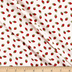 Double Brushed Poly Jersey Knit Strawberries Ivory/Red Fabric