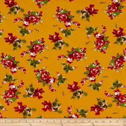 Double Brushed Poly Jersey Knit Rose Bouquet Mustard/Red