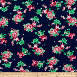 Double Brushed Poly Jersey Knit Rose Bouquet Navy/Pink Fabric