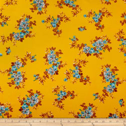Double Brushed Poly Jersey Knit Tropical Flowers Gold/Blue Fabric