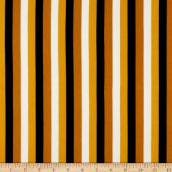 Double Brushed Poly Jersey Knit Roman Stripes Mustard/Multi
