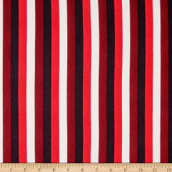 Double Brushed Poly Jersey Knit Roman Stripes Red/Multi