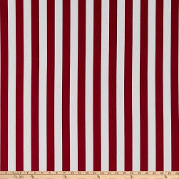 Double Brushed Poly Jersey Knit Bengal Stripes Burgundy/White