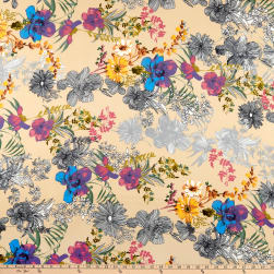 Double Brushed Poly Jersey Knit Floral Garden Taupe