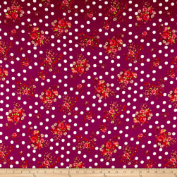 Double Brushed Poly Jersey Knit Dots and Rose Bouquet Wine Fabric