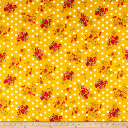 Double Brushed Poly Jersey Knit Dots and Rose Bouquet Mustard Fabric