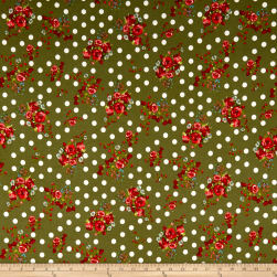 Double Brushed Poly Jersey Knit Dots and Rose Bouquet Olive Fabric