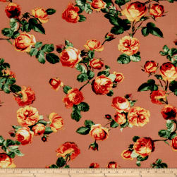 Liverpool Double Knit English Roses Peach/Kelly Fabric