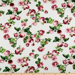 Liverpool Double Knit English Roses Mauve/Olive Fabric