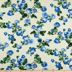 Liverpool Double Knit English Roses Blue/Green Fabric