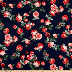 Liverpool Double Knit English Roses Coral/Navy Fabric