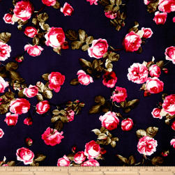 Liverpool Double Knit English Roses Hot Pink/Navy Fabric