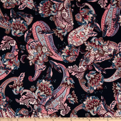 Liverpool Double Knit Abstract Paisley Floral Navy/Blush Fabric