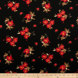 Liverpool Double Knit Mini Floral Bouquet Black/Red Fabric