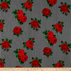 Rayon Challis Striped Roses Black/Red