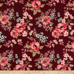 Techno Scuba Knit English Floral Garden Wine/Mauve