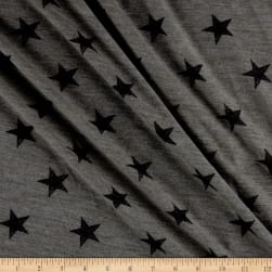 California Stretch French Terry Stars Heather Grey Fabric