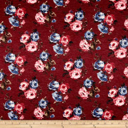 California Stretch French Terry Rose Bouquet Burgundy/Mauve