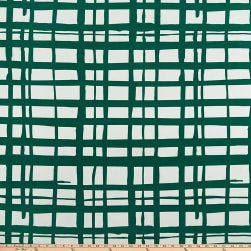 ITY Stretch Jersey Knit Abstract Plaid Emerald/Ivory Fabric