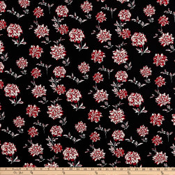 ITY Stretch Jersey Knit Mini Floral Black/Red Fabric
