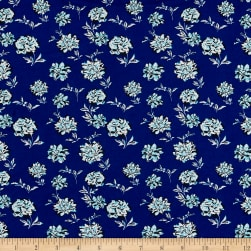 ITY Stretch Jersey Knit Mini Floral Royal/Turquoise Fabric