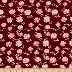 ITY Stretch Jersey Knit Mini Floral Wine/Hot Pink Fabric