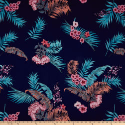 ITY Stretch Jersey Knit Tropical Floral Navy/Pink Fabric
