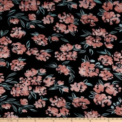 ITY Stretch Jersey Knit Asbtract Floral Black/Mauve Fabric