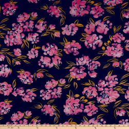 ITY Stretch Jersey Knit Asbtract Floral Navy/Pink Fabric