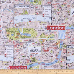 ArtCo Prints Canvas London Map Beige Fabric